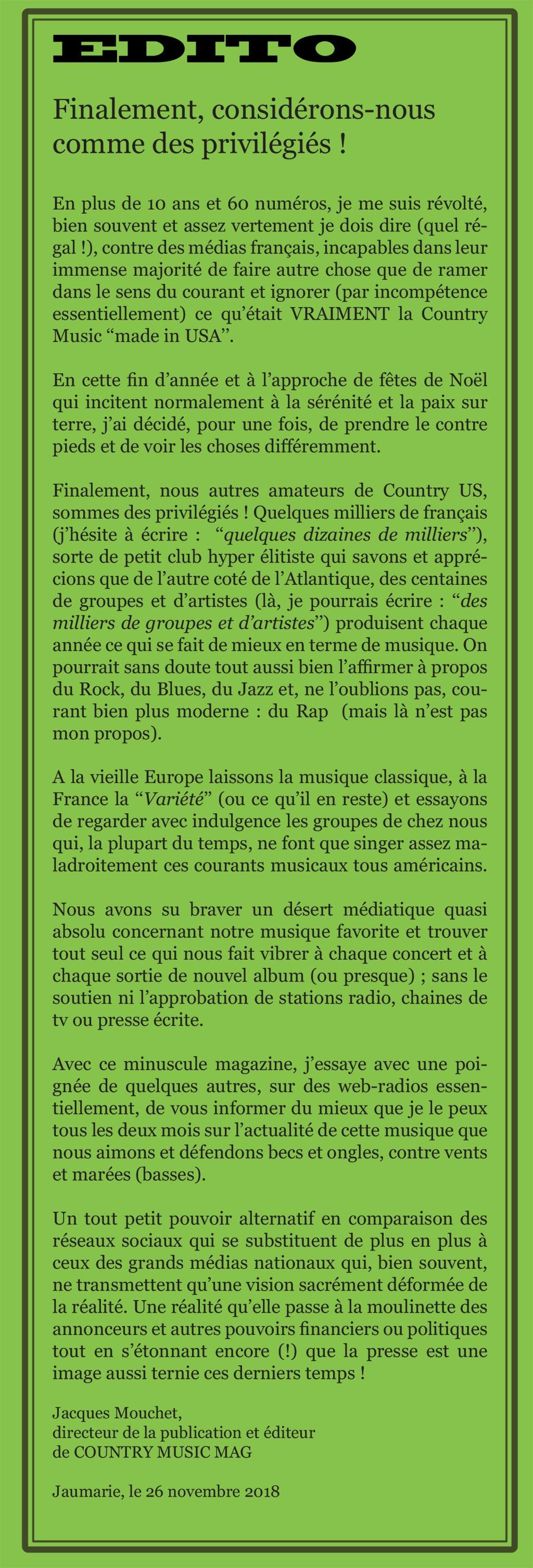 Edito Country Music Mag, France N°62